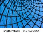 structural glass facade curving ... | Shutterstock . vector #1127629055