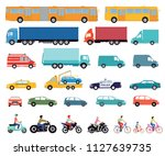 cars  truck  bus  scooter ... | Shutterstock .eps vector #1127639735