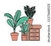drawer with houseplants icons   Shutterstock .eps vector #1127668325