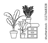 drawer with houseplants icons   Shutterstock .eps vector #1127668328
