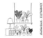drawer with houseplants and lamp   Shutterstock .eps vector #1127668415