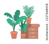 drawer with houseplants icons   Shutterstock .eps vector #1127668418