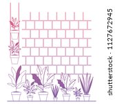 wall with houseplants scene | Shutterstock .eps vector #1127672945