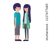 young couple avatars characters | Shutterstock .eps vector #1127677685