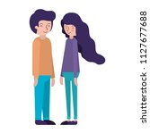 young couple avatars characters | Shutterstock .eps vector #1127677688