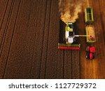 High angle shot of a harvester...