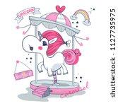 cute carousel unicorn girl... | Shutterstock .eps vector #1127735975