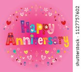 happy anniversary greeting card | Shutterstock .eps vector #1127757602
