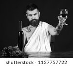sommelier tastes drink. man...   Shutterstock . vector #1127757722