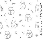 cat in coffee cup  funny... | Shutterstock .eps vector #1127763692