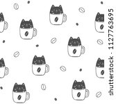 cat in coffee cup  funny... | Shutterstock .eps vector #1127763695