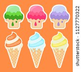collection of stickers with ice ...   Shutterstock . vector #1127770322