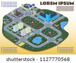 isometric vector city with... | Shutterstock .eps vector #1127770568