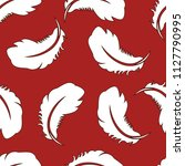 seamless pattern with feathers...   Shutterstock . vector #1127790995