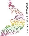 peacock stencils art | Shutterstock .eps vector #1127794502