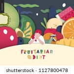 fruitarian food diet  flat... | Shutterstock .eps vector #1127800478