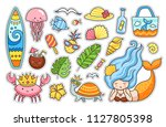 summer stickers set. travel... | Shutterstock .eps vector #1127805398