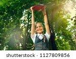 student schoolgirl happy with... | Shutterstock . vector #1127809856