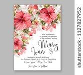 pink hibiscus hawaii wedding... | Shutterstock .eps vector #1127827952