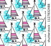childish drawing yacht... | Shutterstock .eps vector #1127832488