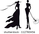 silhouette fashion girls | Shutterstock .eps vector #112783456