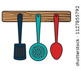 set cutleries hanging icons | Shutterstock .eps vector #1127855792