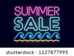 summer sale neon vector banner... | Shutterstock .eps vector #1127877995