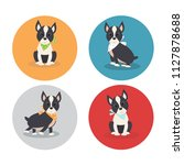 Stock vector cute boston terrier puppy character cartoon vector illustration isolated on white background 1127878688
