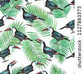 seamless pattern with tropical  ... | Shutterstock . vector #1127883575