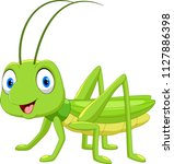 cute grasshopper cartoon...   Shutterstock .eps vector #1127886398