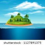 a deserted island scene... | Shutterstock .eps vector #1127891375