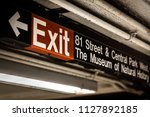 exit sign at the 81st street... | Shutterstock . vector #1127892185