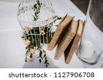 table for wedding ceremony is... | Shutterstock . vector #1127906708