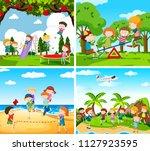 set of scene of children...   Shutterstock .eps vector #1127923595