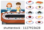 two ladys at a sushi train... | Shutterstock .eps vector #1127923628