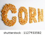 corn kernels with shape of word | Shutterstock . vector #1127933582