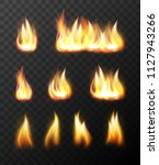 realistic fire flames... | Shutterstock . vector #1127943266