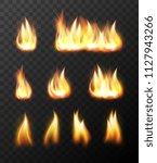 realistic fire flames... | Shutterstock . vector #1127943266