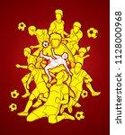 soccer player team composition...   Shutterstock .eps vector #1128000968