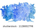 watercolor background with... | Shutterstock . vector #1128002798
