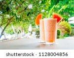 watermon fruit and papaya juice ... | Shutterstock . vector #1128004856