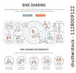line banner of bike sharing.... | Shutterstock .eps vector #1128009122