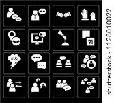 set of 16 icons such as group ... | Shutterstock .eps vector #1128010022