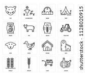 set of 16 icons such as onion ...