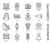 set of 16 icons such as dress ...