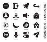 set of 16 icons such as send ...