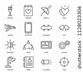 set of 16 icons such as focus ...