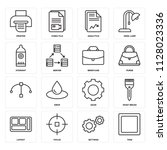 set of 16 icons such as task ...