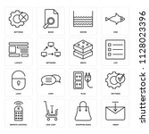 set of 16 icons such as inbox ...