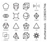 set of 16 icons such as ellipse ...